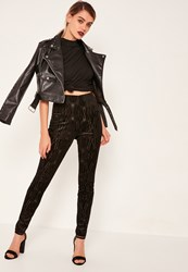 Missguided Burnout Velvet Leggings Black