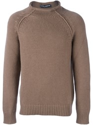 Dolce And Gabbana Rolled Neck Jumper Brown