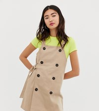 Monki Dungaree Dress With Sided Belt In Beige Red
