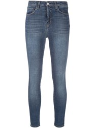 L'agence Skinny Cropped Stonewashed Jeans Blue