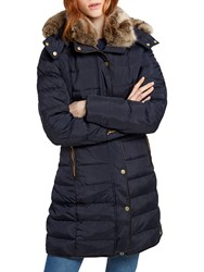 Joules Caldecott Long Line Padded Coat Navy