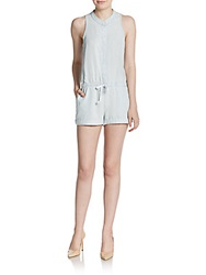 Saks Fifth Avenue Red Polka Dot Chambray Short Jumpsuit Cloud