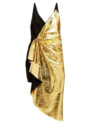 Gucci Pleated Metallic Leather And Suede Mini Dress Black Gold