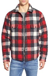 Men's Woolrich Quilted Wool Check Shirt Jacket Old Red
