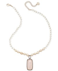 Paul And Pitu Naturally Rose Gold Tone Freshwater Pearl 7 X 11Mm Rose Quartz Pendant Necklace Pink