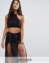 Wolf And Whistle Lattice Crop Beach Top Co Ord Black