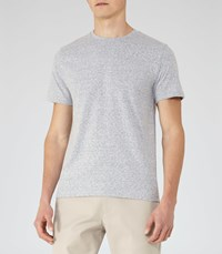 Reiss Sonar Mens Mottled Weave T Shirt In Blue
