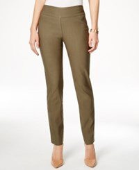 Charter Club Petite Tummy Control Slim Leg Pants Only At Macy's Green Tea