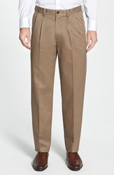 Nordstrom Men's Big And Tall Men's Shop 'Classic' Smartcare Tm Relaxed Fit Double Pleated Cotton Pants Taupe