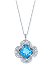 Lali Jewels Blue Topaz And Sapphire 10 3 8 Ct. T.W. And Diamond 1 1 5 Ct. T.W. Clover Pendant Necklace In 14K White Gold