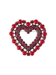 Lanvin Embellished Love Heart Brooch Red