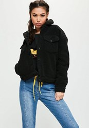 Missguided Tall Black Faux Shearling Trucker Jacket