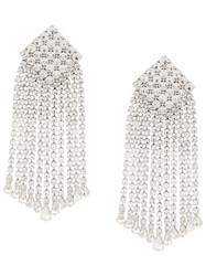 Alessandra Rich Crystal Square Drop Earrings Silver