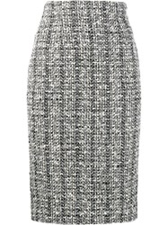 Alexander Mcqueen Tweed Pencil Skirt Black