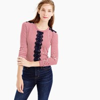 J.Crew Long Sleeve Striped T Shirt With Lace