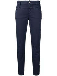 Closed Cropped Skinny Trousers Blue