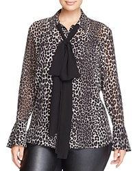 Michael Michael Kors Plus Bow Neck Leopard Print Blouse Bloomingdale's Exclusive Black