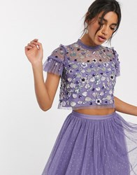 Needle And Thread Embellished Tulle Crop Top In Lilac Grey