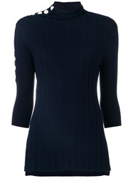 Eudon Choi Turtle Neck Knitted Top Blue