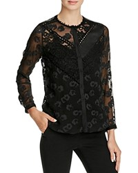 Rebecca Taylor Chevron Lace Blouse Black