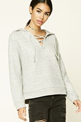 Forever 21 Heathered Lace Up Hoodie