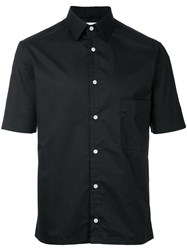 Christophe Lemaire Short Sleeved Shirt Men Cotton Spandex Elastane 46 Black