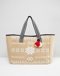 Mango Embroidered Beach Bag White Mix Multi
