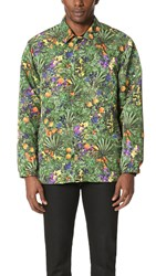 White Mountaineering Tropical Pattern Printed Taffeta Coach Jacket Green