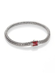John Hardy Classic Chain Red Sapphire And Sterling Silver Extra Small Bracelet