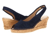 Spring Step Jeanette Navy Textile Women's Wedge Shoes Blue