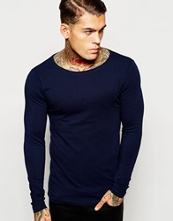 Asos Extreme Muscle Fit Long Sleeve T Shirt In Navy With Boat Neck