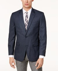 Tommy Hilfiger Men's Slim Fit Brown And Blue Mini Check Sport Coat