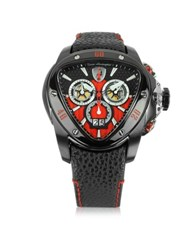Lamborghini Black Stainless Steel Spyder Chronograph Watch W Red Dial
