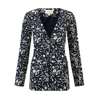 East Bird Of Paradise Embroidered Silk Jacket Navy