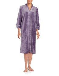Carole Hochman Petite Velour Zip Robe Purple