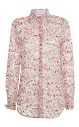 Luisa Beccaria Tulle Embroidered Flowers Shirt Pink
