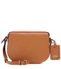 Polo Ralph Lauren Saddle Leather Crossbody Bag Brown