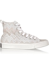 Converse Missoni Chuck Taylor All Star Crochet Knit High Top Sneakers White