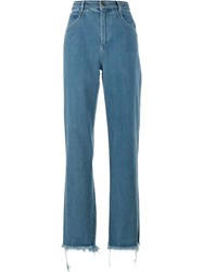 Chloe Wide Leg Jeans Cotton Polyester Blue