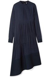 Tibi Asymmetric Gathered Polka Dot Voile Midi Dress Navy