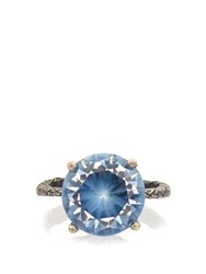 Bottega Veneta Cubic Zirconia And Silver Ring Blue