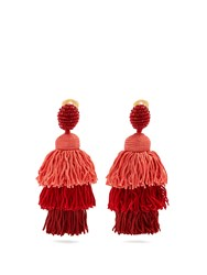 Oscar De La Renta Tiered Tassel Drop Clip On Earrings