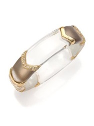Alexis Bittar Phoenix Deco Lucite And Crystal Chevron Sectioned Bangle Bracelet Gold Clear