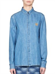 Kenzo Light Denim Button Down Shirt Working Blue