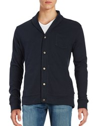 Black Brown Shawl Collar Cotton Blend Cardigan Night Sky