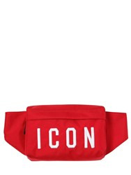 Dsquared Icon Patches Nylon Canvas Belt Pack Red White