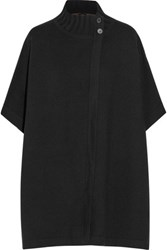 Theory Palomina Reversible Wool Blend Poncho Black