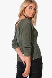 Boohoo Lace Up Back Slouchy Jumper Khaki