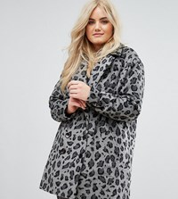 Alice And You Smart Coat In Monochrome Leopard Print Grey Leopard