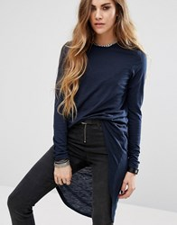 Noisy May Long Sleeve Hi Lo Top Navy Blazer